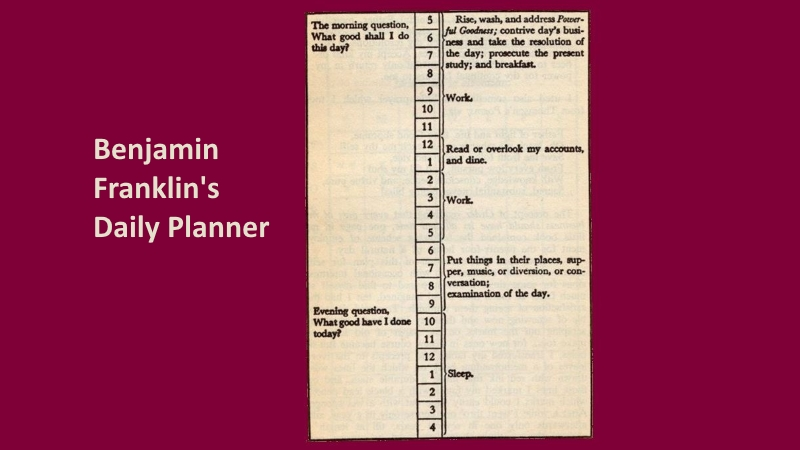 a page from Benjamin Franklin's daily planner